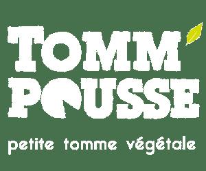 Logo Tomm'Pousse blanc feuille vive