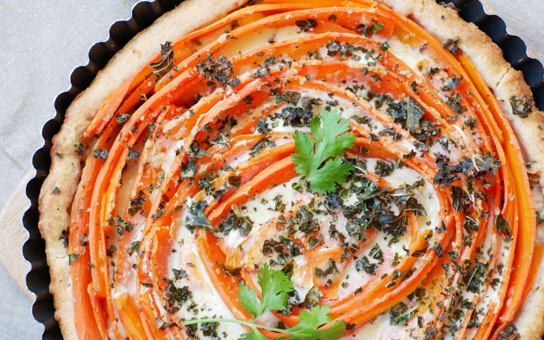 Tarte spirale aux carottes 🥕 et chou kale