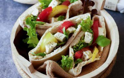 Pita à la grecque, aux légumes d'été et Carrée aux fines herbes
